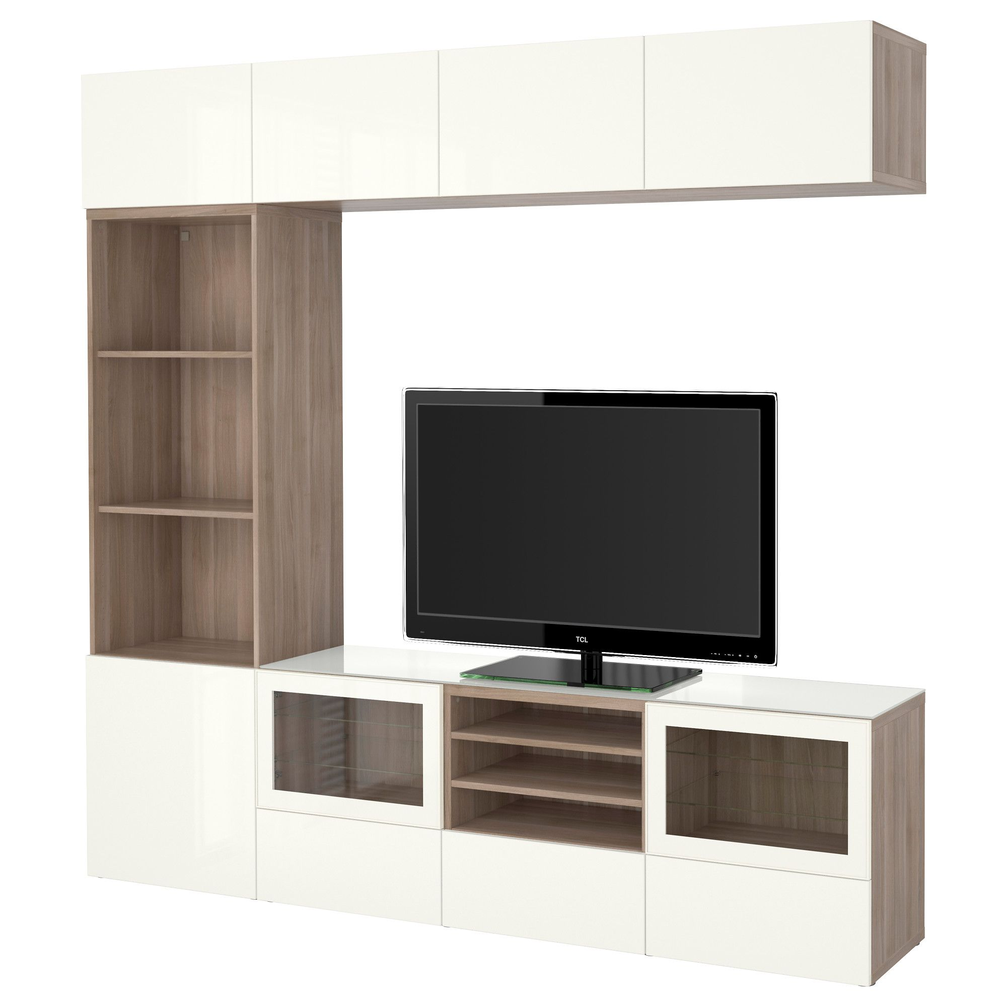 Ikea System Ikea BestÅ Tv Storage Combination Glass Doors Walnut