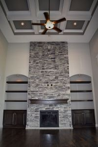 2 Story Great Room, Coffered Ceiling, Stone Fireplace ...