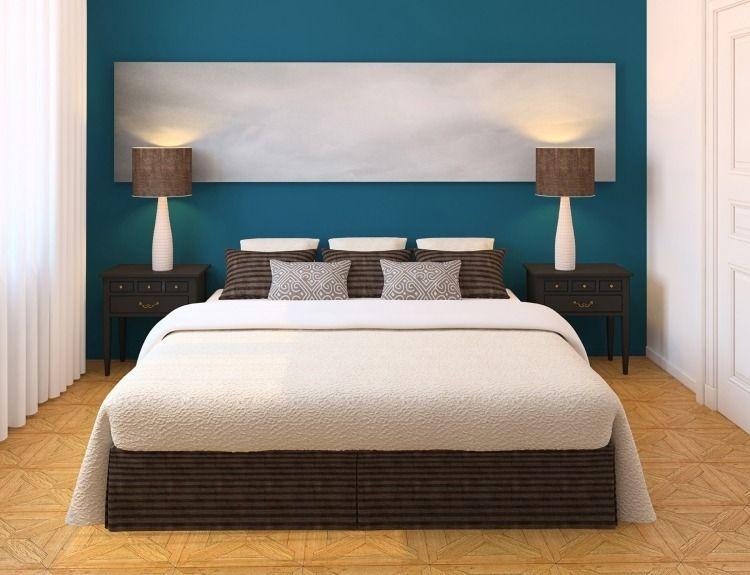 Wand in Türkis mit gestalterisches Element - Viereck in Weiß - schlafzimmer in turkis