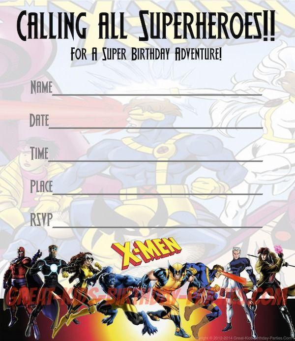 Free X-MEN Party #Invitations - Print these fun invitations for - free party invitations templates online