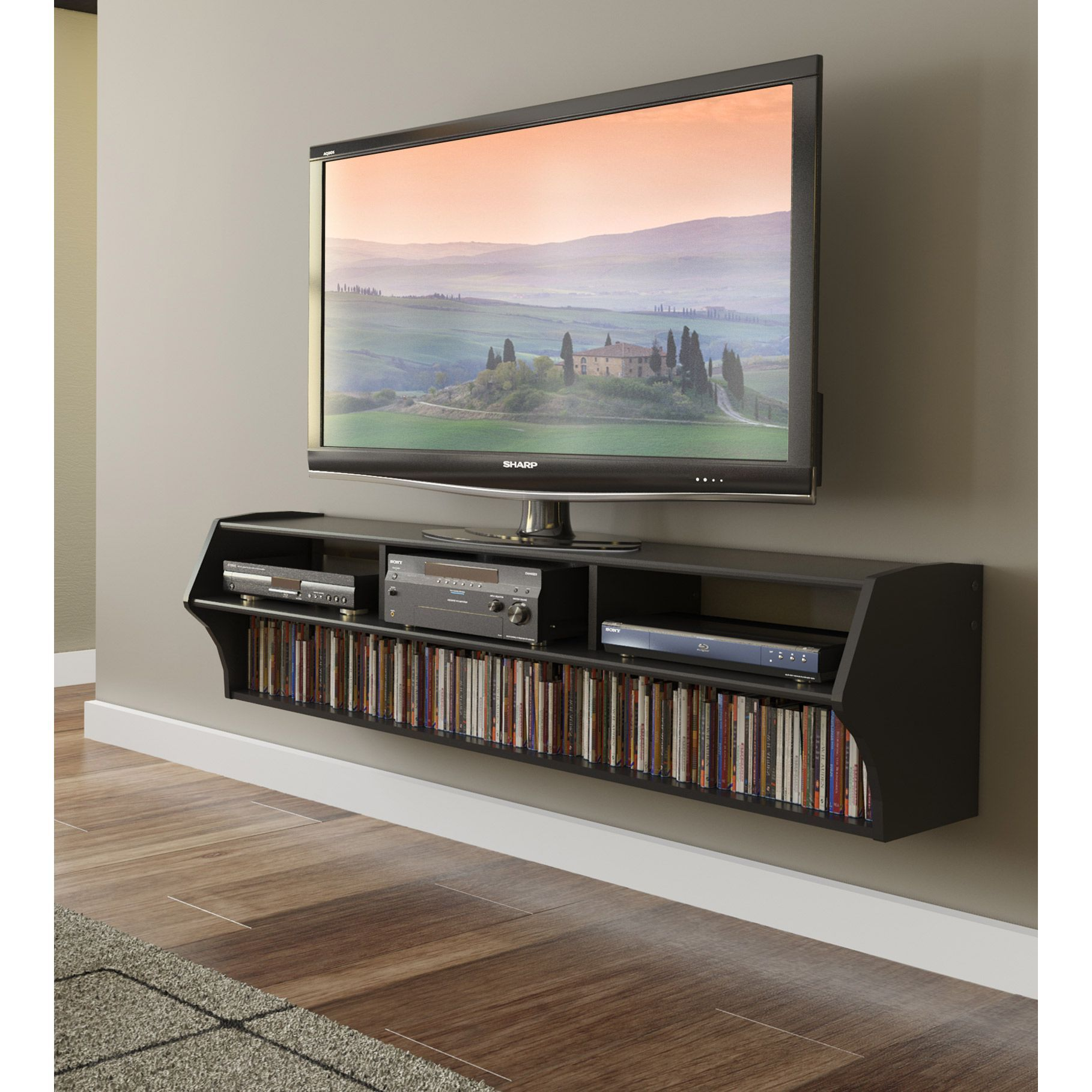 Black altus plus 58 in floating tv stand media console storage shelf flat screen in home garden furniture entertainment units tv stands