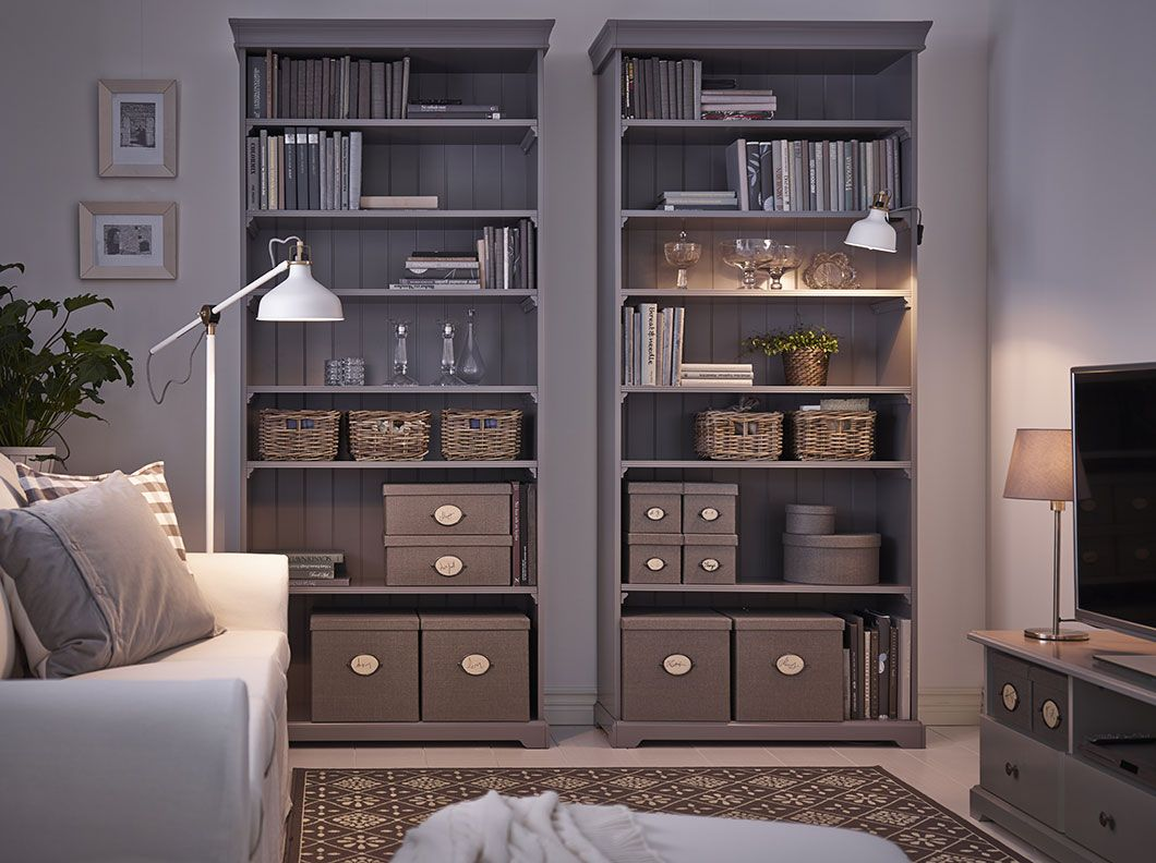 Living Room Storage Chest A Living Room With Two Grey Ikea Hemnes Bookcases Filled