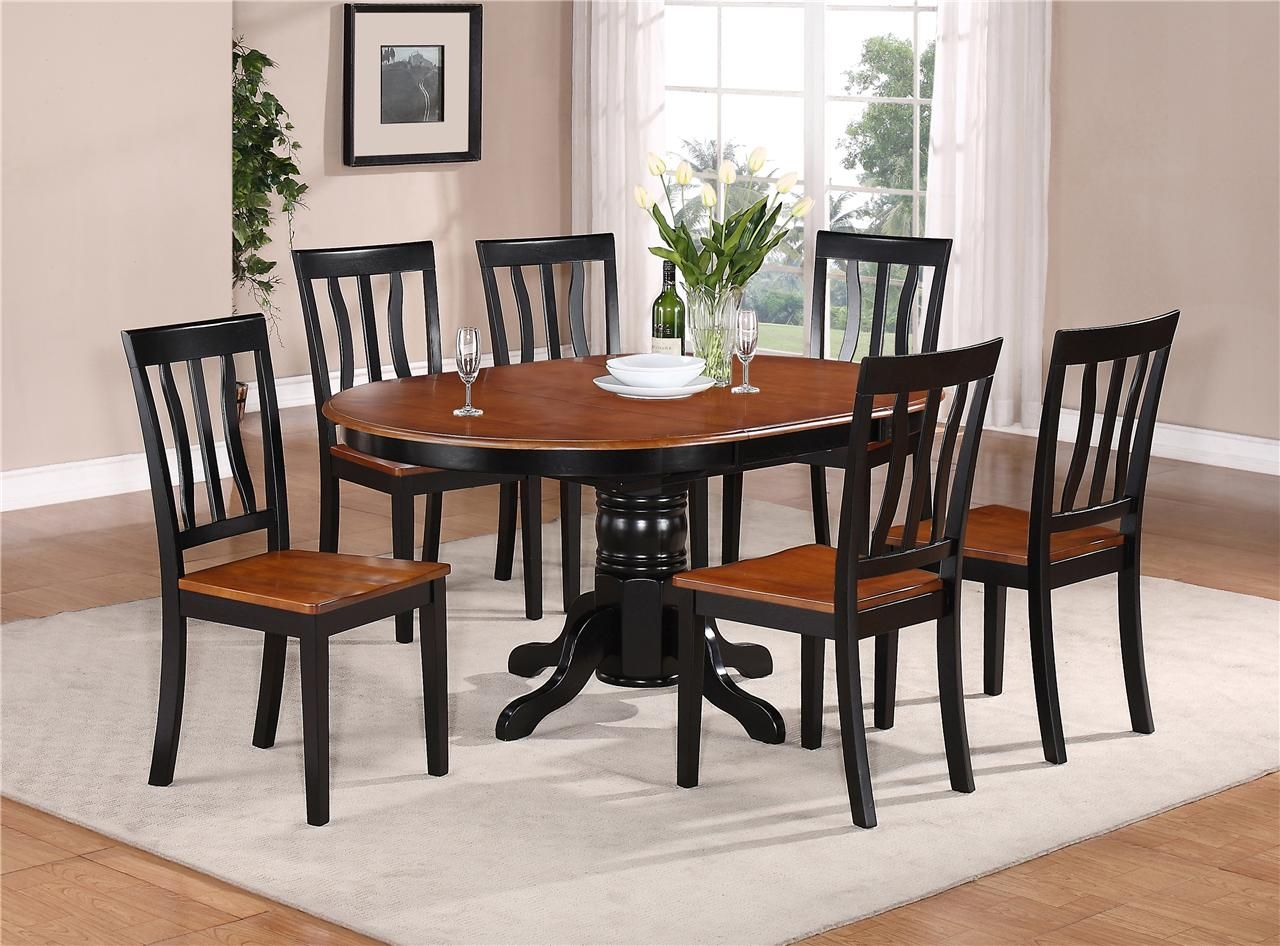 kitchen round table set 7 PC OVAL DINETTE KITCHEN DINING SET TABLE w 6 WOOD SEAT CHAIRS IN BLACK CHERRY