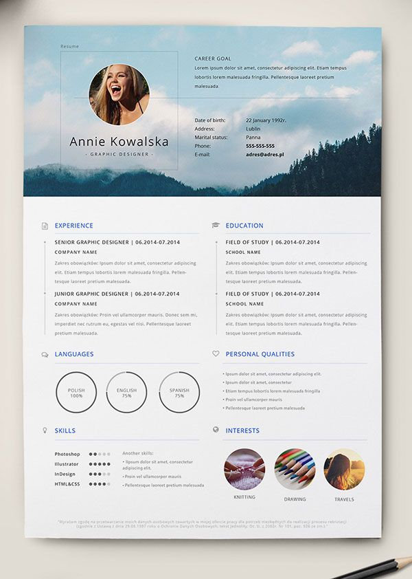 10 Best Free Resume (CV) Templates in Ai, Indesign, Word \ PSD - really free resume templates