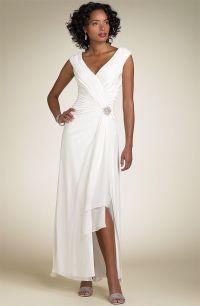 Simple informal V-neck Chiffon Wedding Dress for Older ...