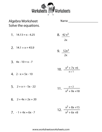 Algebra Practice Worksheet Printable | Algebra Worksheets ...