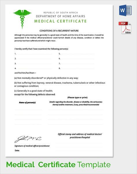 example medical certificate