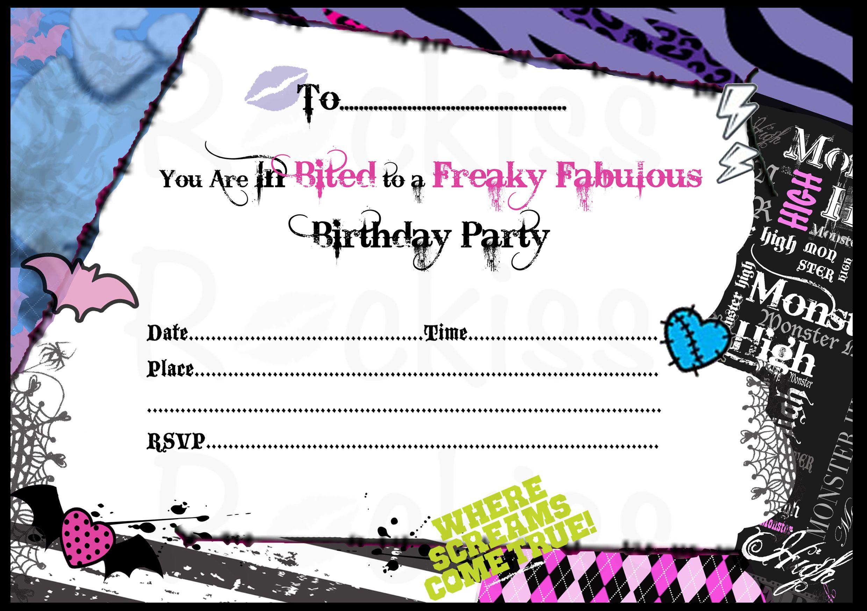 Birthday Invitations Monster High Background 1 Hd