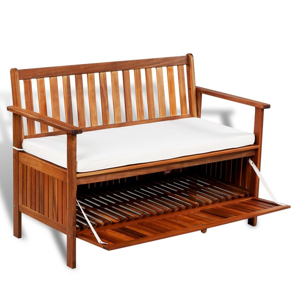 Garden Storage Bench Wooden Patio 2 Seater Sofa Seat