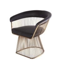 Platner Arm Chair - Black Leather and Gold | Mid-century ...