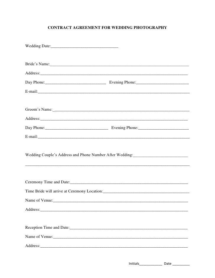 Printable Sample Wedding Photography Contract Template Form - wedding contract template