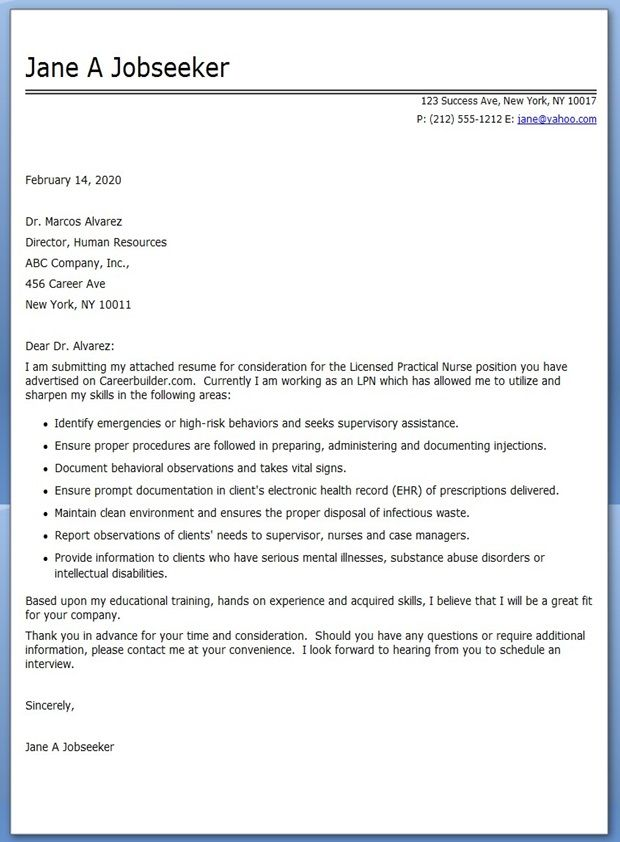LPN Cover Letter for Resume Creative Resume Design Templates - resume cover letter examples for nurses