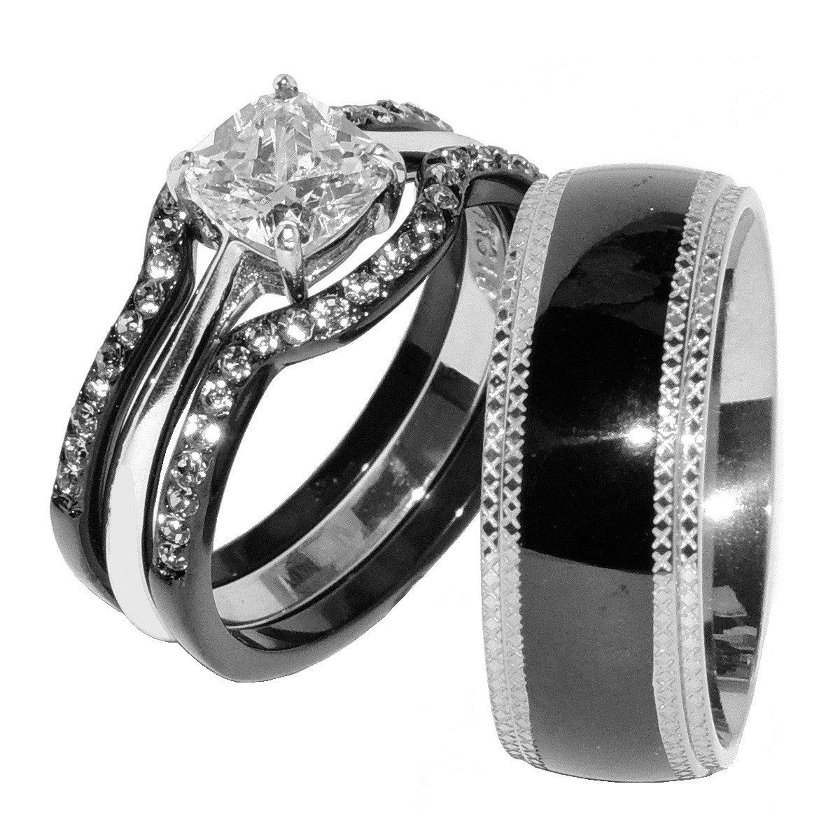 His & Hers 4 PCS Black IP Stainless Steel CZ Wedding Ring