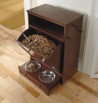 Dog Food Storage Cabinet With Bowls Slide In Drawer Hooks ...