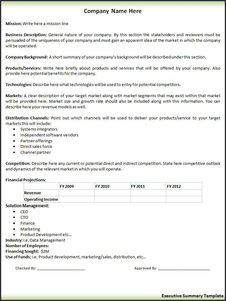 Executive Summary Template Professional Templates Pinterest - executive summary format for project report
