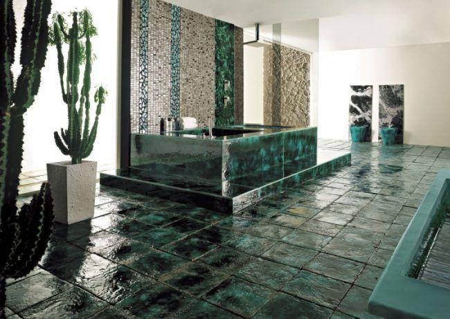 mosaik-fliesen-badezimmer-keramik-kakteen-gruen-badwanne-luxus - badezimmer konsole