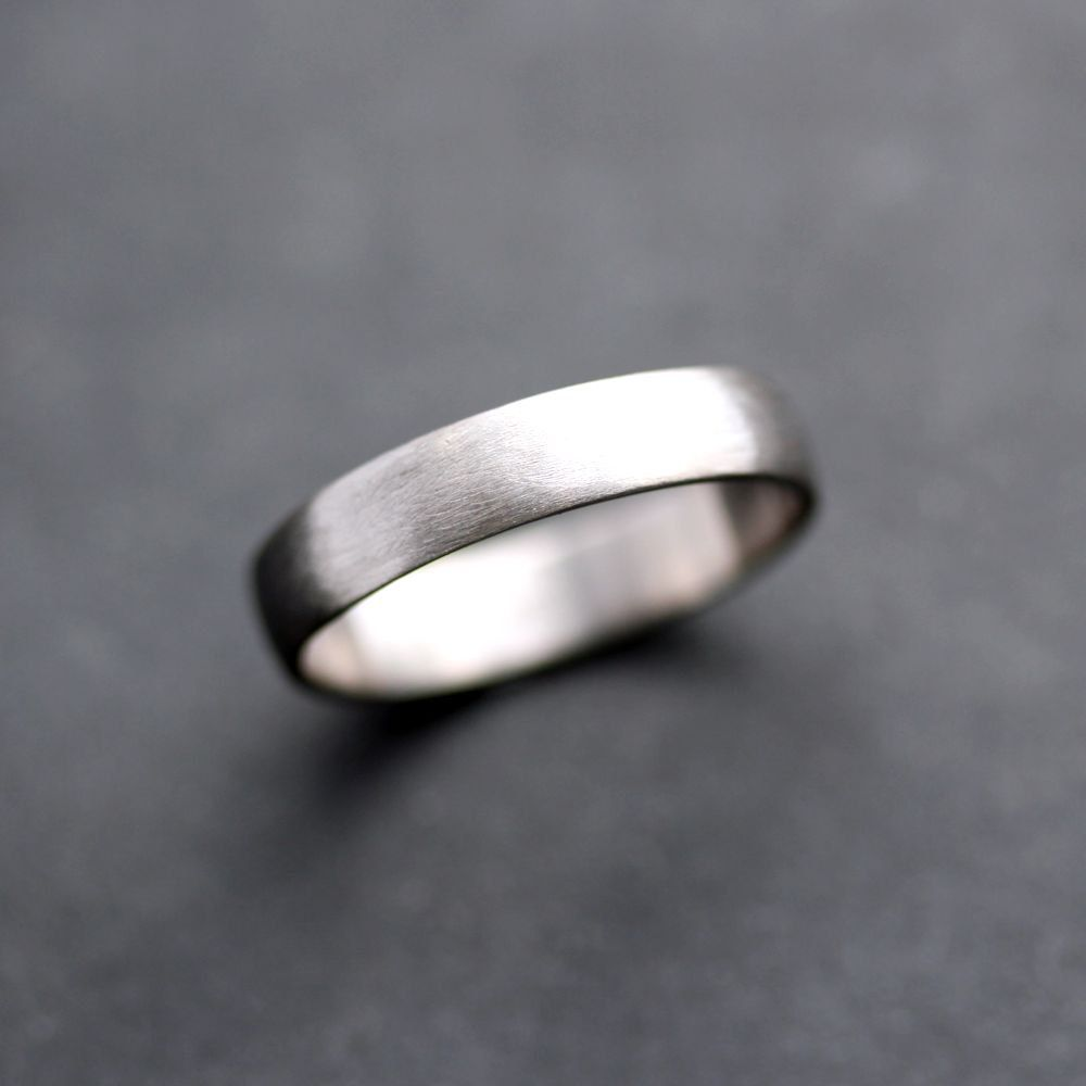 vitalium wedding band Men s Wedding Band 4 5mm Low Dome 14k Recycled Hand Carved Palladium White Gold Wedding Ring Made in Your Size
