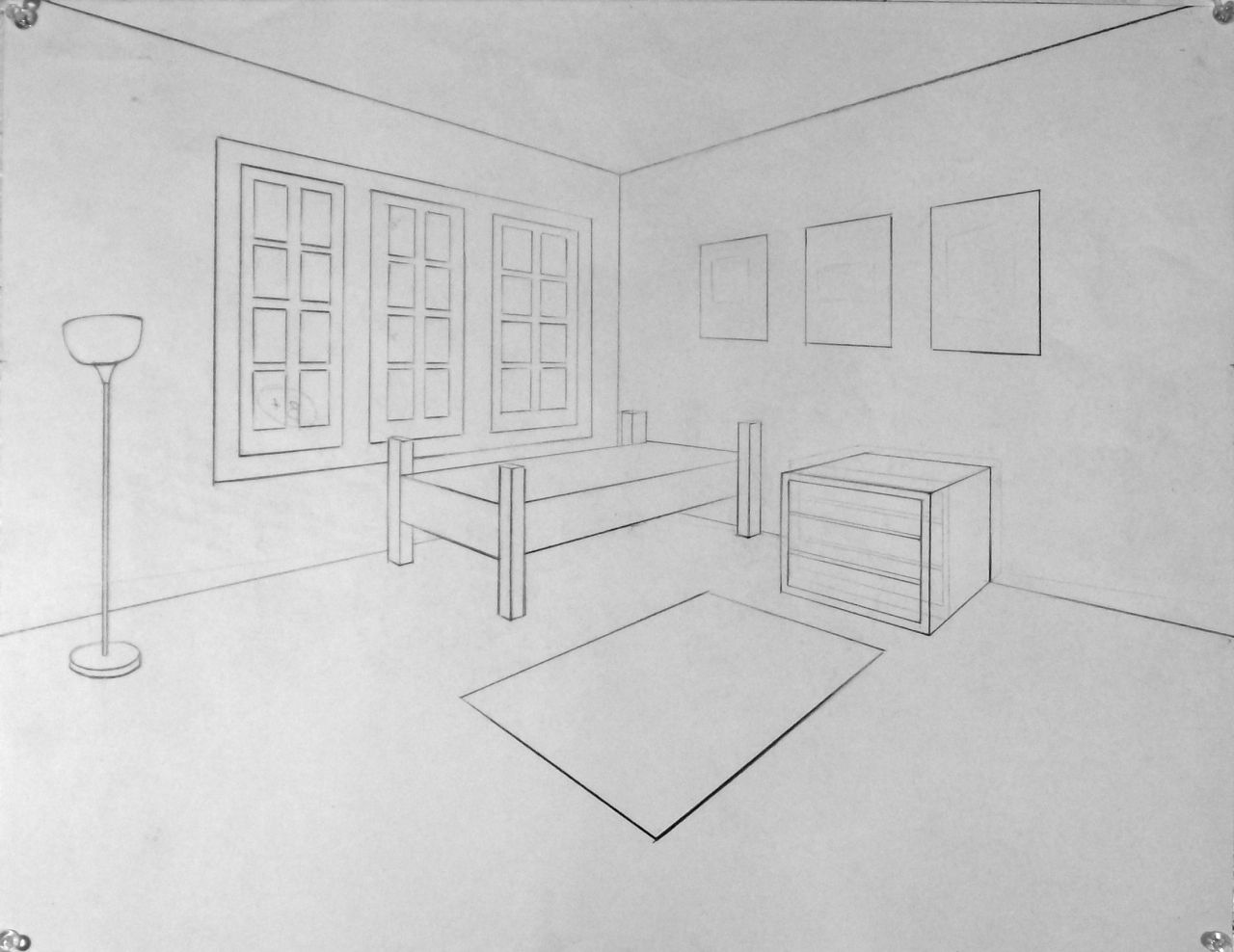 Living Room 2 Point Perspective one point perspective living room drawing