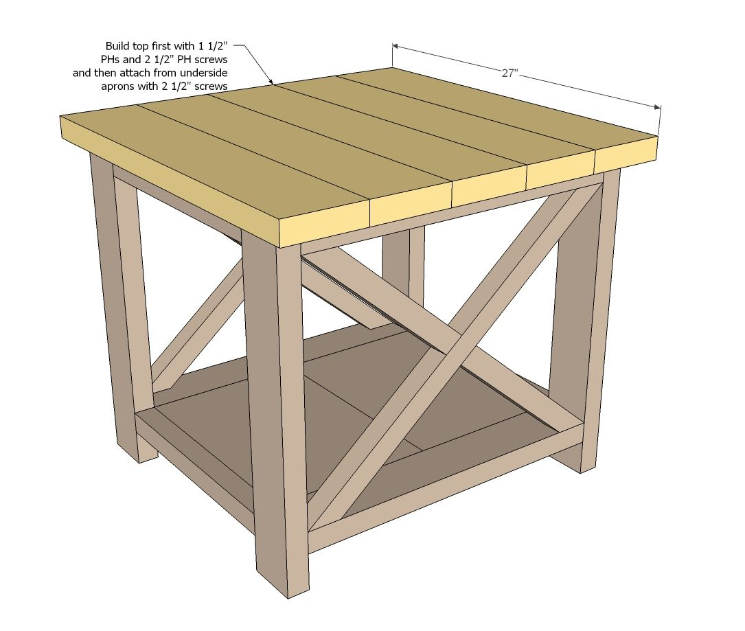 Diy End Tables Plans Ana White Build A Rustic X End Table Free And Easy Diy