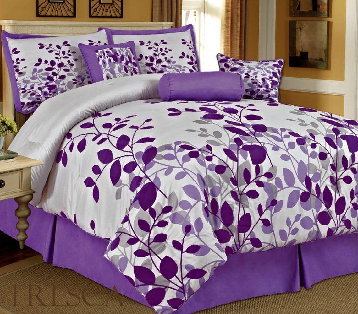 Amazon com bednlinens 7 piece queen fresca purple leaves bedding comforter set home