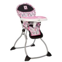 This pink, grey and black Minnie Mouse high chair is as ...