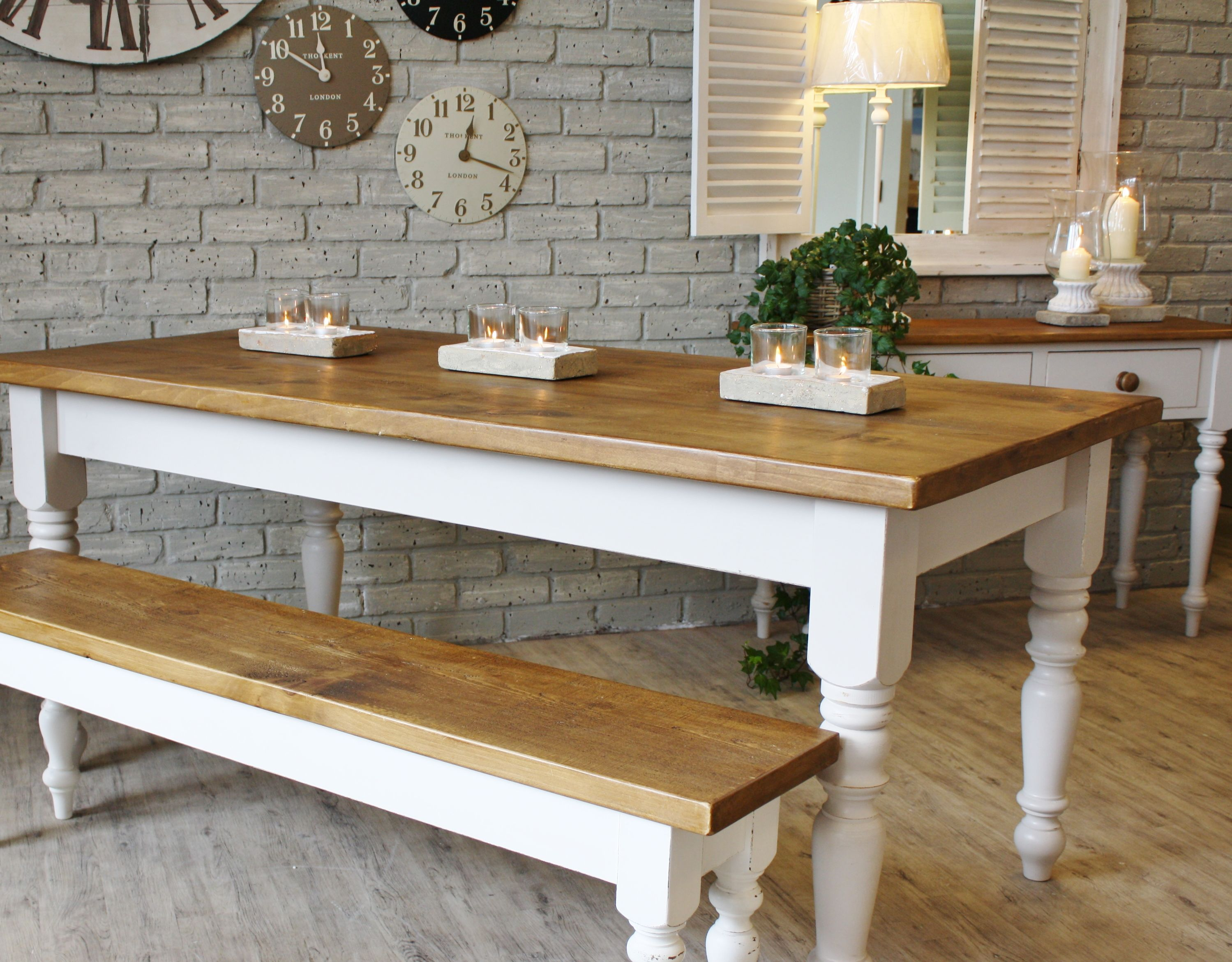 country kitchen tables white and cream farmhouse White Cream Farmhouse Wooden Kitchen Tables with Candle Holders