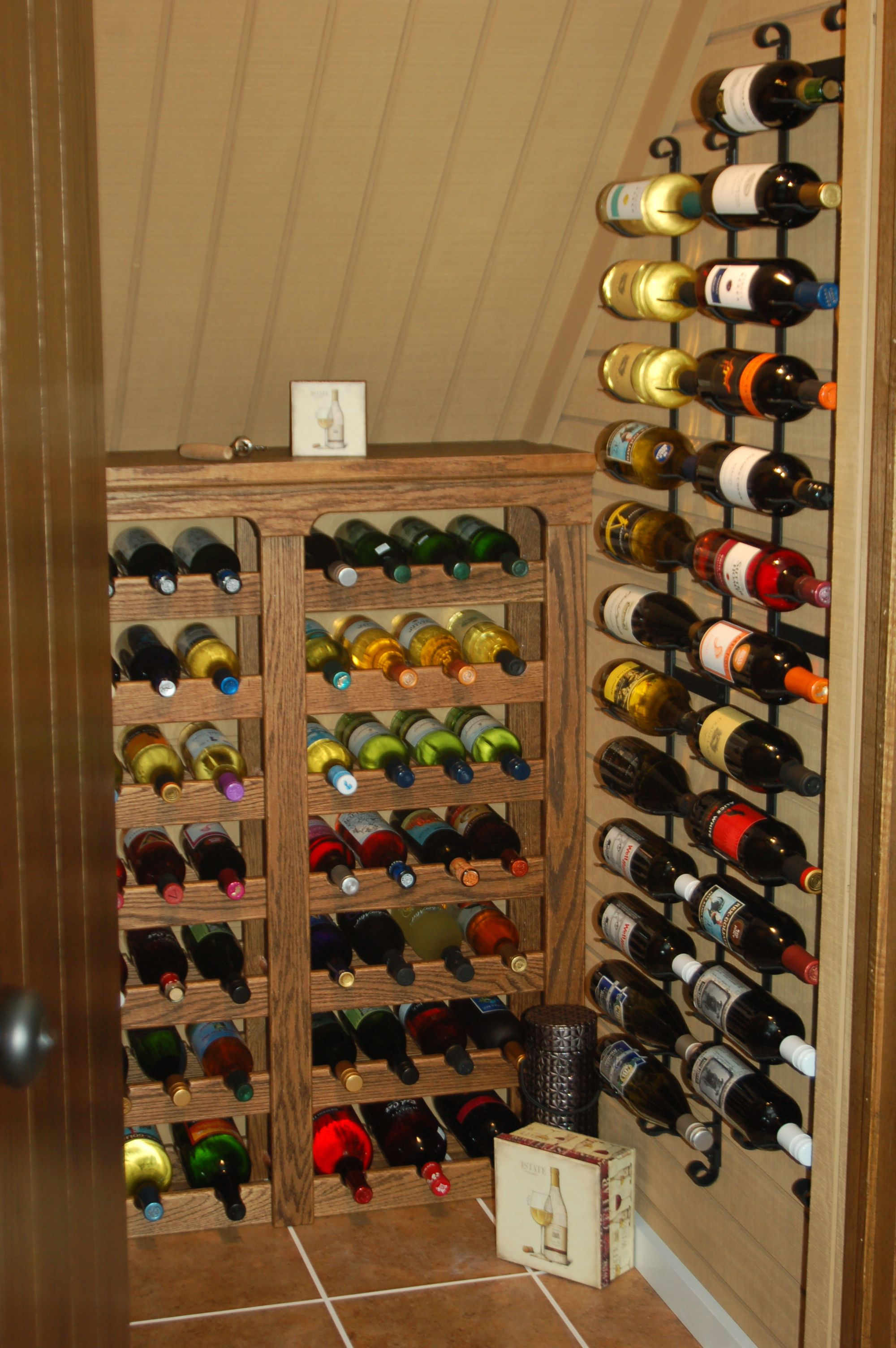 Wine Rack Built Into Wall Under The Stairs Wine Closet Who Needs A Place For Coats