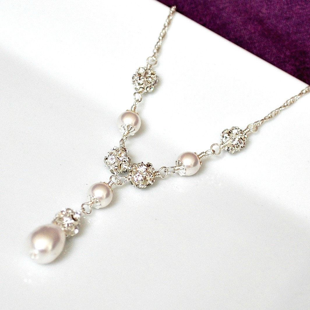 wedding jewelry Bridal Necklace Pearl Bridal Necklace Swarovski Bridal Jewelry Art Deco Y Necklace