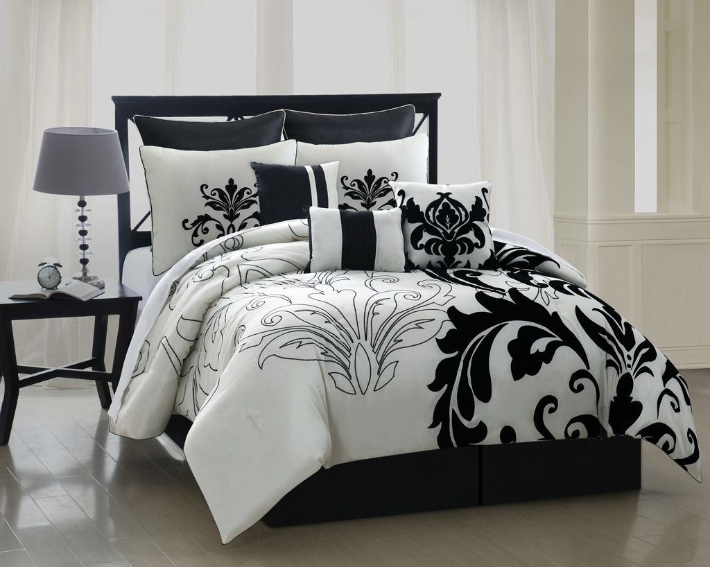 Queen comforter sets piece queen arroyo black and white bedding comforter set