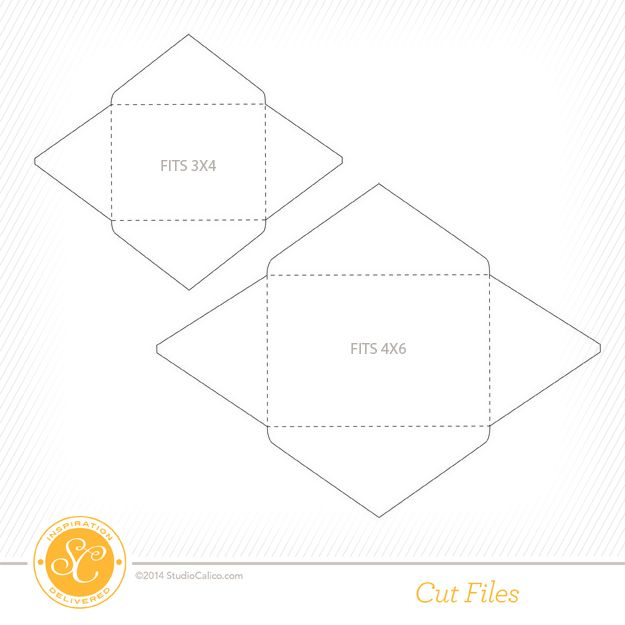 Free Envelope cut files by Julie Campbell - designed to fit 3x4 - 4x6 envelope template