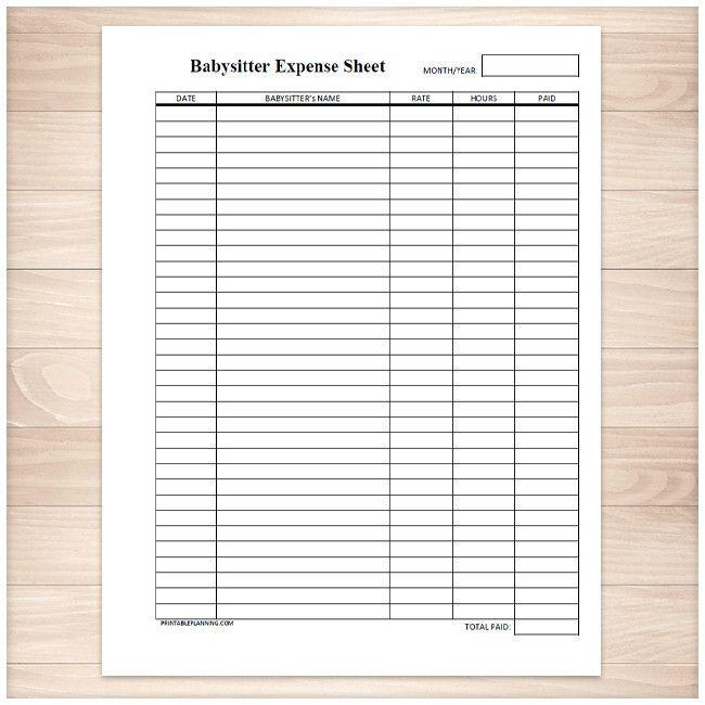 Monthly Babysitter Expense Sheet - Printable Binder and Craft - printable expense sheet