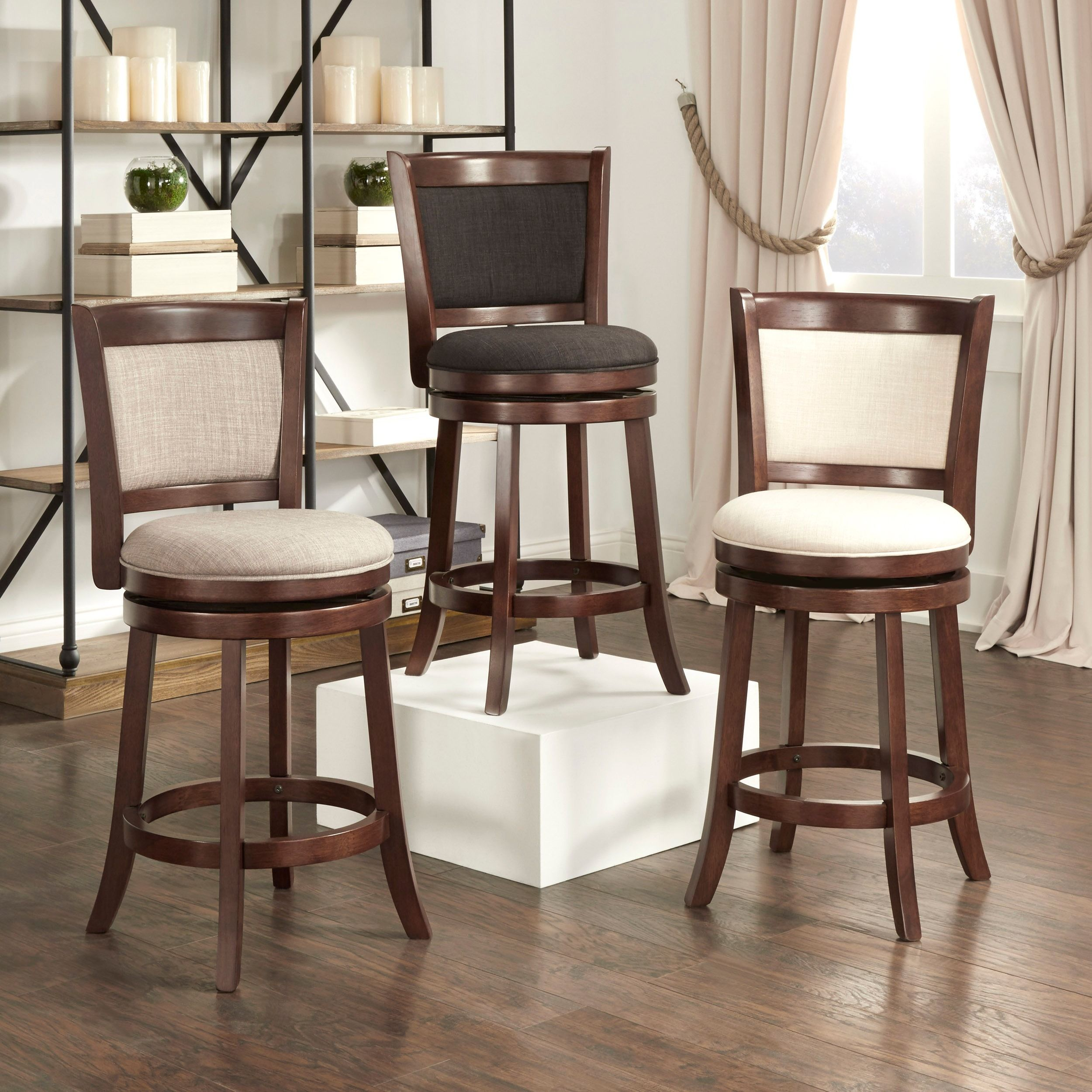 High Back Stools Verona Panel Back Linen Swivel 24 Inch High Back Counter