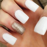 White acrylic nails with gold accent | all 10 fingers ...