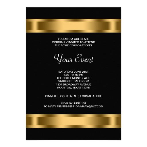 Black Gold Black Corporate Party Event Card Event template - event card template