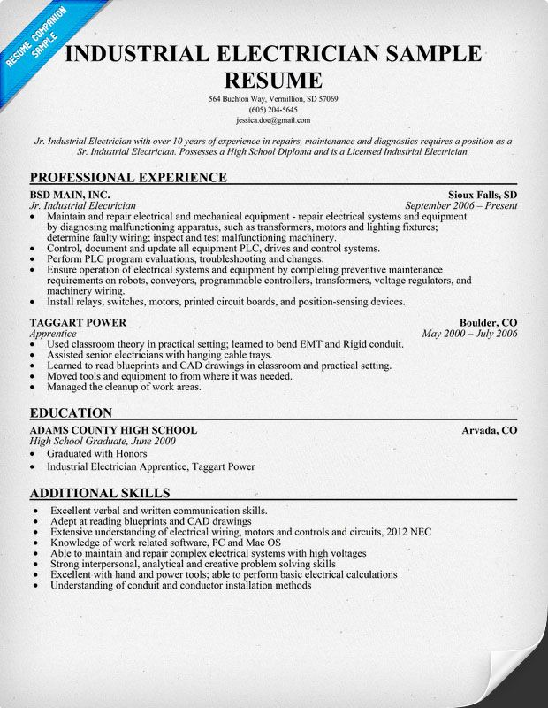 Industrial Electrician Resume Sample (resumecompanion - electrical technician resume