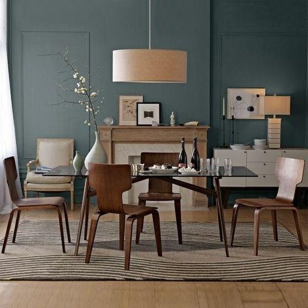 Einrichtungsideen Esszimmer Holz Sitzgruppe Kamin - esszimmer aus holz