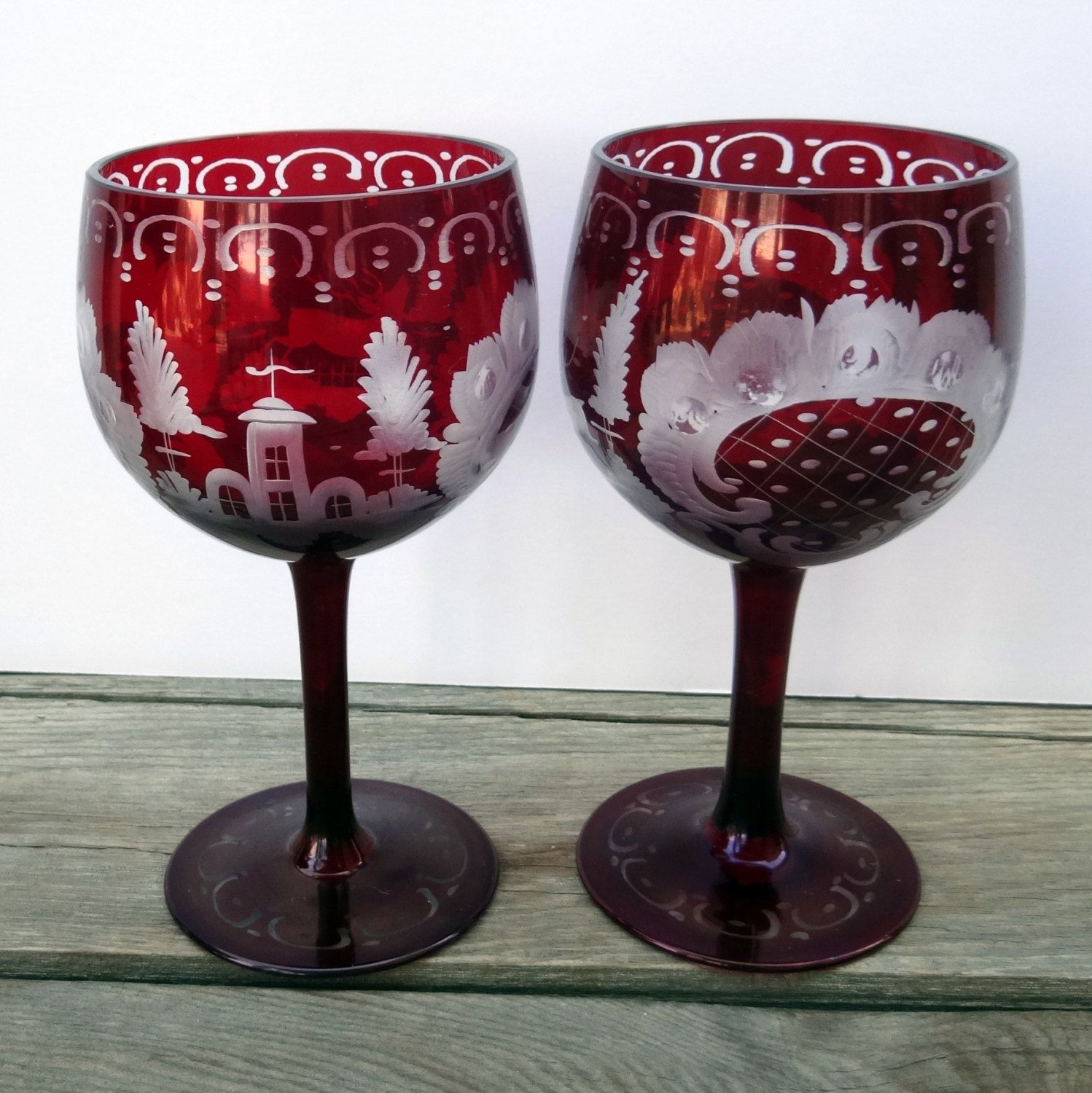 Goblet Style Wine Glasses Vintage Czech Bohemian Glass Deep Ruby Cut To Clear 2 Wine