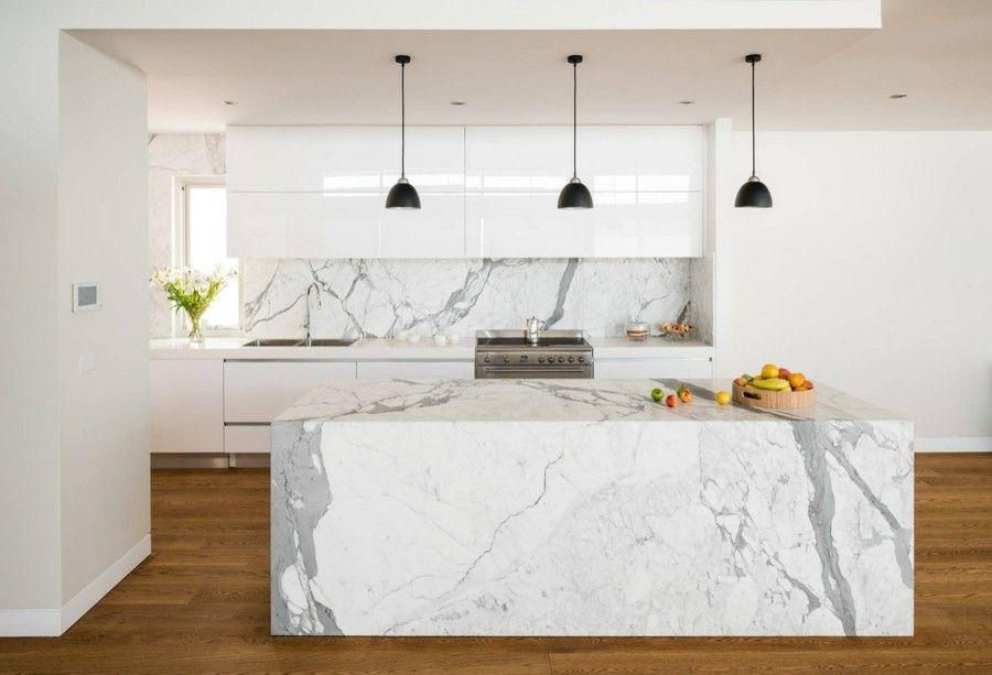 moderne Küche gestalten weiß grau Marmor Kücheninsel sehr - moderne kuche gestalten