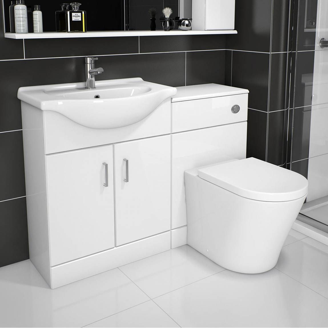 Sienna arc white gloss combination vanity unit small victoria plumb 259 1040mm 450mm