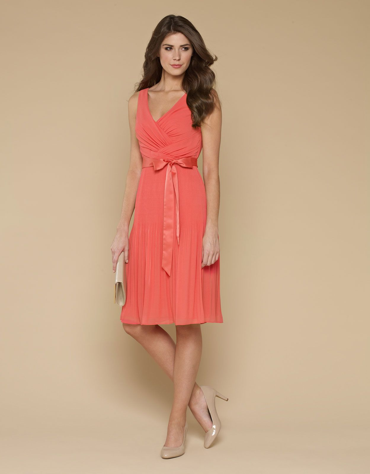 coral dresses for wedding Buy Day Dresses Ville Coral Pleat Dress Pink Monsoon