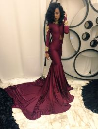 High Collar Mermaid Prom Dress with Gold Appliques ...