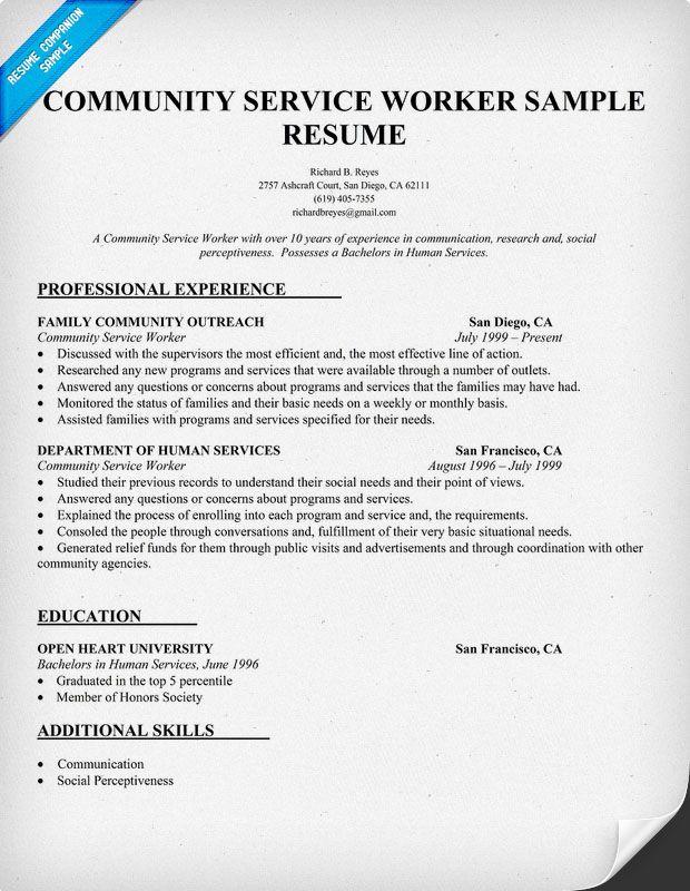 Community Service Worker Resume Sample (http\/\/resumecompanion - human service resume