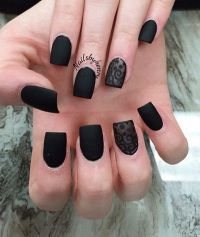 40 Black Nail Art Ideas | Matte black nail polish, Matte ...