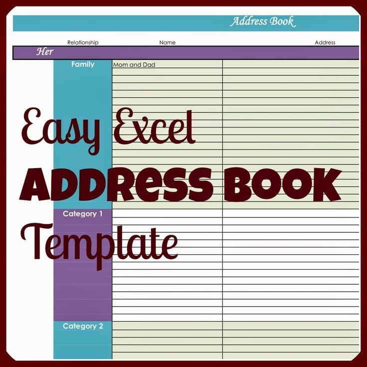 Easy Excel Address Book Template Organizations, Planners and - excel phone list template