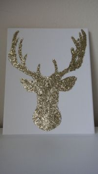 8x10 Gold Glitter Reindeer Deer Canvas Wall Art