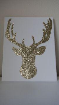 8x10 Gold Glitter Reindeer Deer Canvas Wall Art