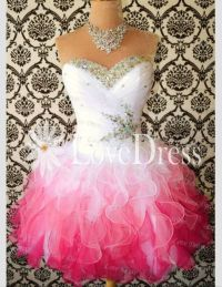 Pink white and silver ombr short fluffy dress