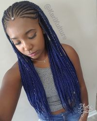 Fulani braids blue hair protective style on natural hair ...