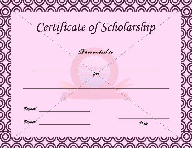 Scholarship Certificate Template SCHOLARSHIP CERTIFICATE - sample scholarship certificate