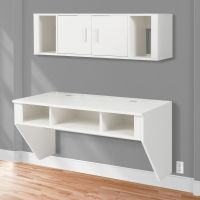 BCP Designer Floating Desk With Hutch White Finish Wall ...